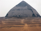 The Bent Pyramid, built by Senefru, father of Cheops/Khufu Much of the limestone covering remains. Dahshur.