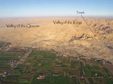 Valley of the Queens, Kings, and Hatshepsut temple labeled