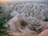 The pink rocks of Cappadocia near sundown.  Quite beautiful.