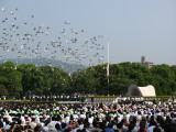 The releasing of the doves at the ceremony