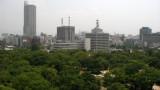Hazy view of Hiroshima skyline
