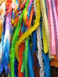 Strands of origami cranes at the Children's Memorial