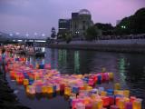 Glowing lanterns in front of the Genbaku Dōmu