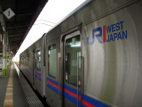 JR West kaisoku (rapid) train on the platform