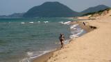 Running along the shoreline