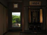 Live Hanging Scroll beside an interior tokonoma