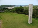 Grassy old wall overlooking the Sea of Genkai