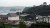Hirado-jō with the distant Hirado Ōhashi