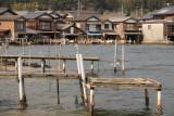 Row of funaya and makeshift docks