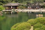 Kikugetsu-tei teahouse and stretching cormorant