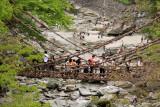 Crowds on the Nishi Iya Kazura-bashi (vine bridge)