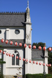 Paper lanterns against St. Francis Cathedral