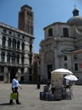 Lone art vendor on Campo San Geremia