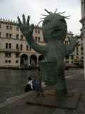 Slipping statue