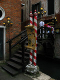 Decorative footbridge to an upmarket trattoria