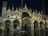 A flooded Piazza San Marco by night