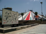 Graffitied sculpture and Pyramid