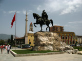 Statue of Skanderbeg on Sheshi Skënderbej