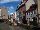 Souvenir vendors and colorful facades