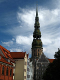 Spire of St. Peter's with colorful facades