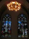 Chandelier and stained glass, Rīgas Doms