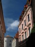 Sunlit facade and turret of Rīga Castle