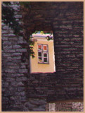 Window through stone opening