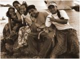 Happy crowd in Truk Island