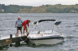 Bill and Phil tying the boat up at the jetty