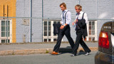 Two Young Men Walk Down the Street, Trondheim