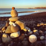 Stone pyramid on the beach near Dana Point, CA, USA