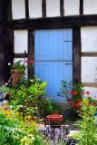 Blue door and flowers