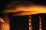 Coal power plant at night. Near Washingtonville, Pa.