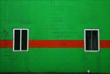 Green wall-red stripe.