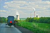Amish buggy and steam plant. Near Washingtonville, Pa.