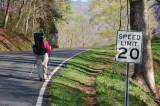 Speed Limit 20 MPH hiking towards Fontana Dam