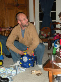 Matt plays with the new Christmas toys