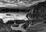 The Snowdon range in B&W