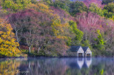 Boat houses on Llyn Dinas
