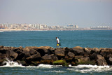 fisherman on the jetty...Jersey Shore