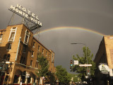 Awesome double rainbow over Hotel Monte Vist in Flagstaff, Az