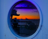 Southampton harbor door's reflextions.