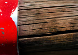 Wood and red metal