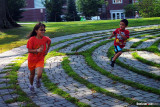 Emma & Spencer running on a labyrinth