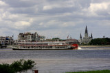 St. Louis Cathedral with Steamboat Natchez in Mississippi River