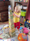 Kristina shows off her stacking skills