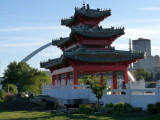 Peace pagoda, pedestrian bridge