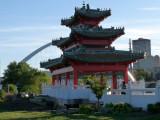 Peace pagoda, pedestrian bridge