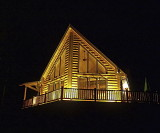 Cabin front, at night