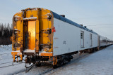Baggage 413 at the end of a Special Sunday Hockey train in Moosonee